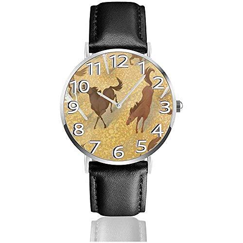Uhr Armbanduhr Pferd und Birke Classic Casual Quarz Schwarzes Lederarmband Uhr Business-Uhren