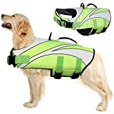 Dog Life Jacket,Adjustable Dog Life Vest for Swimming Boating Kayaking,Ripstop Pet Swimwear Life Preserver with Rescue Handle and Leash Hole, Lightweight Pet Lifesaver for Small Medium Large Dogs