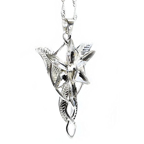 Beaux Bijoux LOTR Lord of The Rings Hobbit Arwen EVENSTAR Silver Tone Necklace Crystal Pendant Prop Replica in Blue Gift Box - Arwen Evenstar Necklace