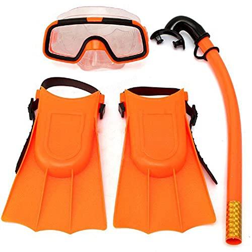 Set de Snorkel para Niños, Paquetes de Snorkel Mask Fin para Niños de 3 a 4 Años con Máscara Lentes de Buceo y Aletas de Silicona para Snorkel para Buceo Buceo Apnea Buceo Snorkel,Naranja