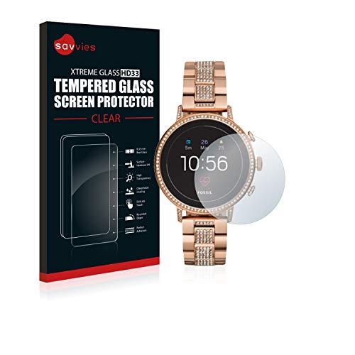 Savvies Panzerglas kompatibel mit Fossil Q Venture HR (4.Gen) - Echt-Glas, 9H Festigkeit, Anti-Fingerprint