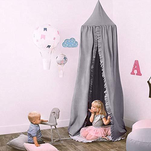 Ciels de Lit pour Enfant, Moustiquaire de d'enfant, Dôme Coton Moustique Net, Tente de Jeu pour des Enfants Salle de Lecture, Décoration de Chambre à Coucher (Gris)