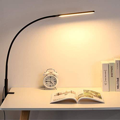 LMIX Lámpara de escritorio con cuello de cisne y pie de sujeción, 10 W, brazo largo con lámpara arquitecta, temperatura de color ajustable y protección ocular, brazo flexible