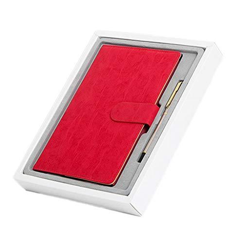 cuaderno Cuaderno de negocios Papelería Diario de libro Simple Hebilla de cinturón Bloc de notas Caja de regalo Registro Conferencia Material de oficina Trabajo Espesar Cuaderno diario ( Color : Red )