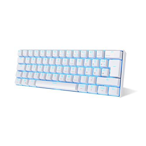 RK ROYAL KLUDGE RK61-DE QWERTZ Kabelgebundene / Bluetooth 60% Mechanische Tastatur, ABS Tastenkappen, Braune Schalter, für IOS, Android, Windows und Mac, Weiß