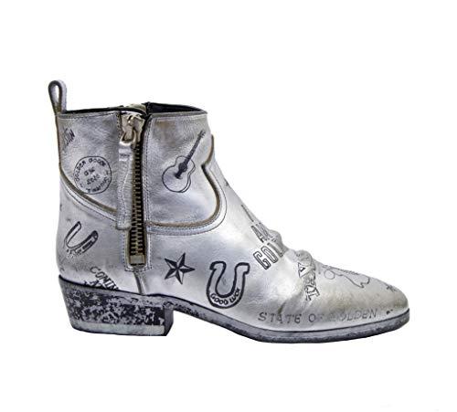 Golden Goose Stiefel mit 2 Reißverschlüssen, Silber Texas, Mehrfarbig - Silver Leather Black Texas - Größe: 37 EU