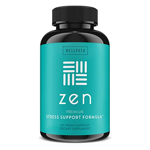 Zen Anxiety and Stress Relief Supplement - Premium Herbal Formula Supporting Calm, Positive Mood with Ashwagandha, L-Theanine, Rhodiola - for Occasional Anxiety - 60 Ct