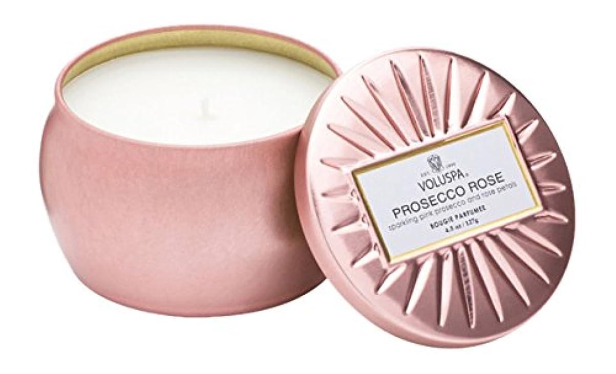 エンドウ好む手首Voluspa ボルスパ ヴァーメイル ティンキャンドル  S フ?ロセッコロース? PROSECCO ROSE VERMEIL PETITE Tin Glass Candle