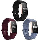 Adepoy für Fitbit Charge 3 Armband, Verstellbarer klassischer Sport Ersatzarmband Kompatibel mit Fitbit Charge 3/ Charge 3 SE, Damen Herren (3er Pack,Schwarz/Winerot/Blau Grau, Klein)