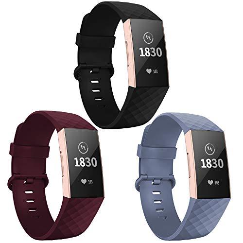 Adepoy für Fitbit Charge 3 Armband, Verstellbarer klassischer Sport Ersatzarmband Kompatibel mit Fitbit Charge 3/ Charge 3 SE, Damen Herren (3er Pack,Schwarz/Winerot/Blaugrau, Groß)