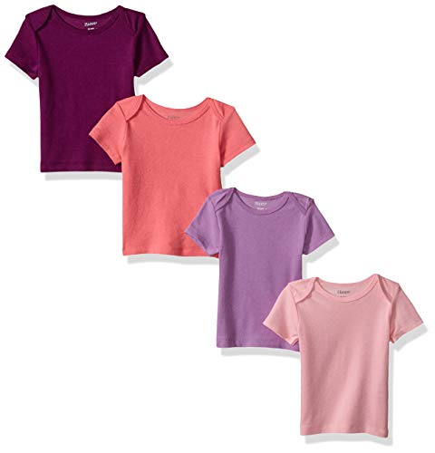 Hanes Ultimate Baby Flexy 4 Pack Short Sleeve Crew Tees, Purple/Pink, 6-12 Months