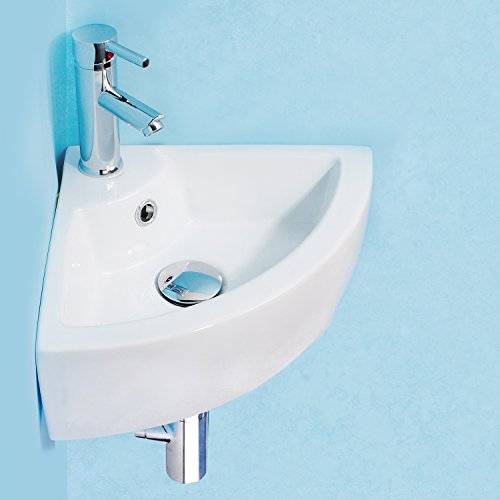 Small Bathroom Sink Wall Mount Cloakroom Hand Basin White...