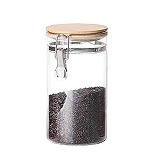 lo voedsel opslag pot glas voedsel opslag pot met luchtdichte afdichting bamboe deksel Snap-Fit glas bus