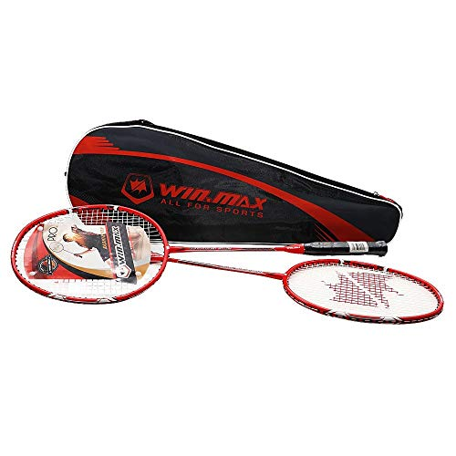 Kit Badminton 2 Raquetes Fibra de Vidro Winmax Vermelho