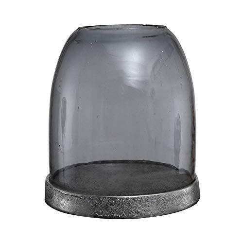 PTMD Windlicht Stormlight Jake aus Glas grau mit Alu-Untersetzer - Maße: 16.0 x 16.0 x 20.0 cm