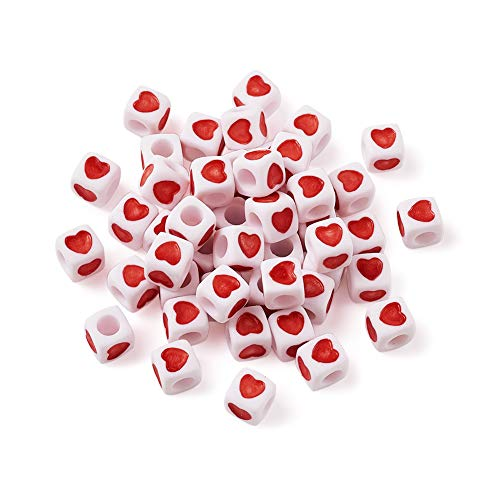 Beadthoven 100 Pieces White Acrylic Heart Shape Plastic Tiny Cube Beads Large Hole Beading for Necklace Bracelet Keychains Kid's Jewelry 7mm Hole: 4mm