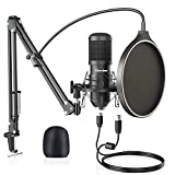 USB Condenser Microphone, Upgraded 192KHZ/24bit Professional Mic Kit for Computer, Streaming Podcast Pc Mic, Singing Recording Studio Microphone, Cardioid Mic with Boom Arm, Plug&Play Gaming, YouTube
