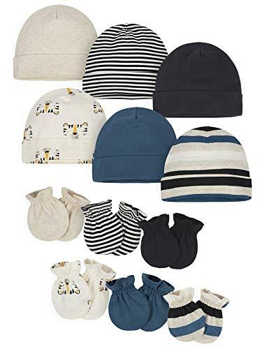 Onesies Brand Baby Boys 12-Piece Cap and Mitten Set, Tiger Board, 0-6 Months