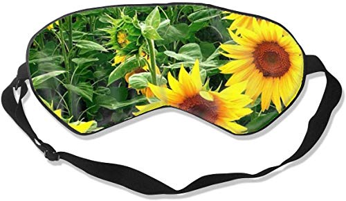 Gemusterte Schlafmaske mit Sonnenblumen-Motiv, verstellbar, leicht und bequem, Augenmaske,...