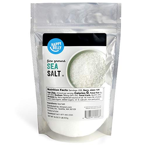 Amazon Brand - Happy Belly Sea Salt, Fine Ground, 16 Ounces