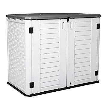 Horizontal Outdoor Garden Storage Shed for Backyards and Patios Plastic Storage Box Waterproof Small Shed 26 Cubic Feet Capacity for Bike Garbage Cans Lawn Mower Tools and Garden Accessories