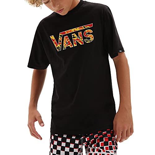 Vans Classic Logo Fill Boys T-Shirt, Camo a Fiamma Nera, M Bambino