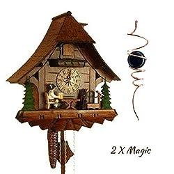 QWIRLY 2 Item Bundle: STERNREITER Beer Drinker Black Forest Mechanical Cuckoo Clock Model 1247 & Optical Illusion Spinner