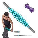 Bibykivn Massageroller Muskel Roller Stick - Mit Ergonomischen Peanut Ball Massagegerät - für Triggerpunkt-Massage, Faszienrolle mit Griff und Massageball Ideal für Anfänger (Blau)