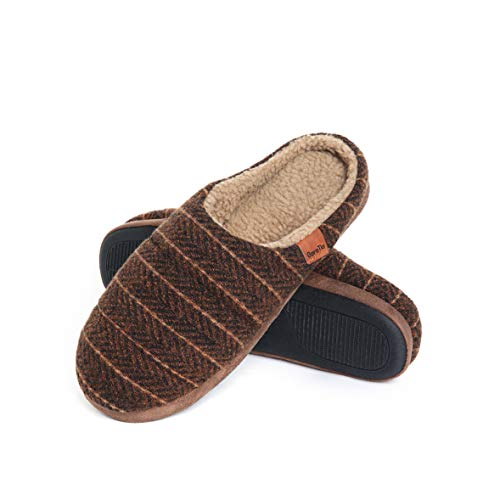 GaraTia Slippers for Men Woolen Slippers with Memory Foam Anti-Slip House Breathable Indoor Shoes Brown 9-10