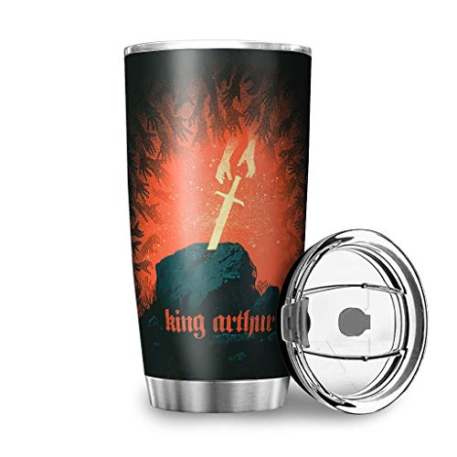 Yrgdskuvle König Taza de café térmica de doble pared, de acero inoxidable, a prueba de fugas, reutilizable, para llevar al aire libre, con tapa, utilizable para blanco, 600 ml