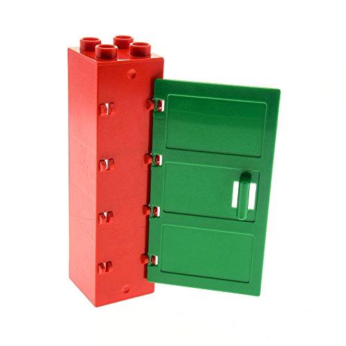 Bausteine gebraucht 1 x Lego Duplo Möbel Regal rot 2x2x6 Schrank Tür Säule Tor Rahmen Halter mit Tür Blatt grün Reitstall Bauernhof Puppenhaus 5649 9217 87321 87322