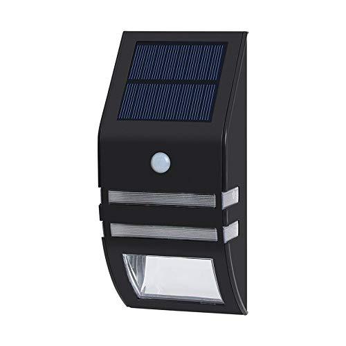ACEHE Aplique de Pared Lámpara LED de inducción Humana 5.5V 0.33W Luz de Pared Solar de Acero Inoxidable Lámpara de Paisaje Impermeable (Negro)