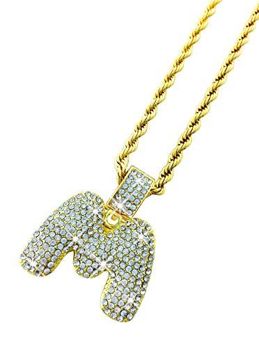 Exo Jewel Diamond Bubble Alphabet Letter Pendant Necklace with 24