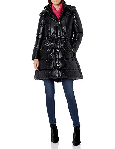Armani Exchange AX Damen Alternative Down Snap Closure Coat Daunenalternative, Mantel, schwarz, Large