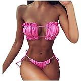 HLRY Mujer Bikini ruchada Hueco Push-up Arrastre Traje de baño Traje de baño Ropa de Playa Bikini Mujer Set Traje de baño Dama # 35 (Color : PK, Size : L)