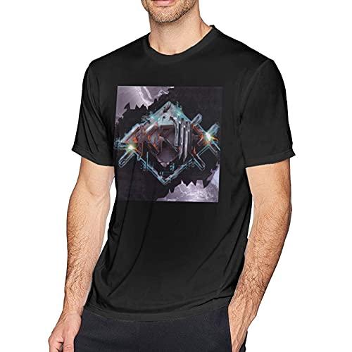SK-Rill-Ex Men Classic Breathable Crew T Shirt Hip Hop Short Sleeve tee Mans Casual Tunics Black