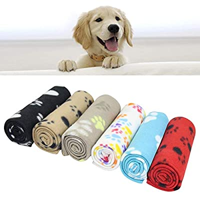 AK KYC 6 pack Mixed Puppy Blanket Cushion Dog Cat Fleece Blankets Pet Sleep Mat Pad Bed Cover with Paw Print Kitten Soft Warm Blanket for Animals from AK KYC