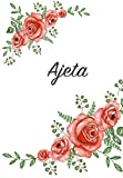 Ajeta: Personalized Notebook with Flowers and First Name – Floral Cover (Red Rose Blooms). College Ruled (Narrow Lined) Journal for School Notes, Diary Writing, Journaling. Composition Book Size