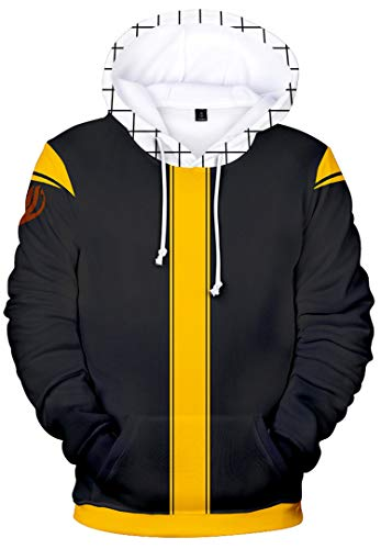 Unisex Mens Hoodies Inspired by Japanese Anime Fairy Tail Lucy Zeref Dragneel Sweatshirts with Pocket, Black & Yellow/L