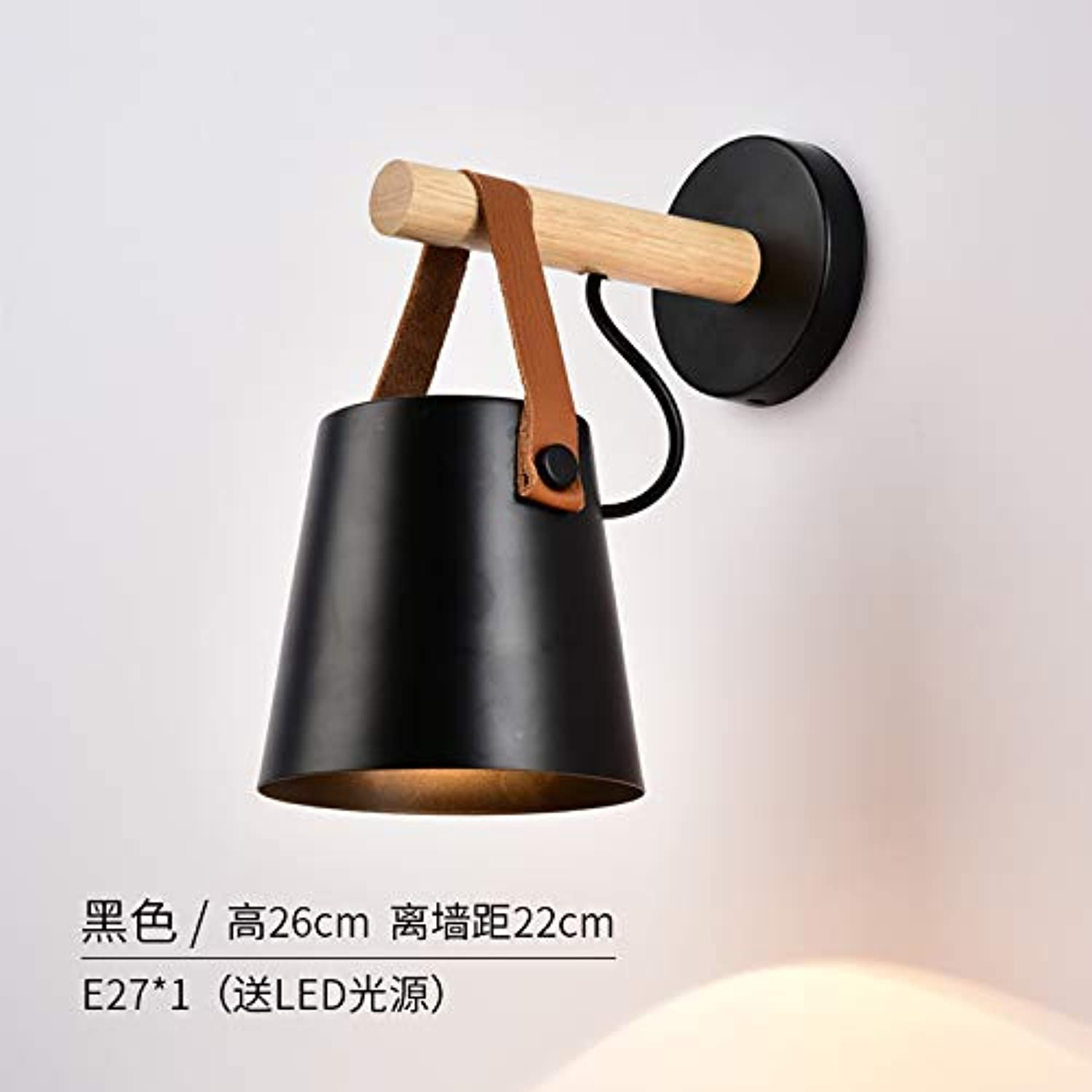 Led Wall Lamp Modern Simple Living Room North European And American Restoration Creative Schlafzimmer Bedside Stairway Balcony Iron Single Head Belt,Schwarze Led -Lichtquelle
