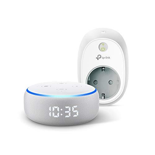 Echo Dot (3ª generazione) - Altoparlante intelligente con orologio e Alexa +TP-Link HS100 Presa intelligente Wi-Fi, compatibile con Alexa