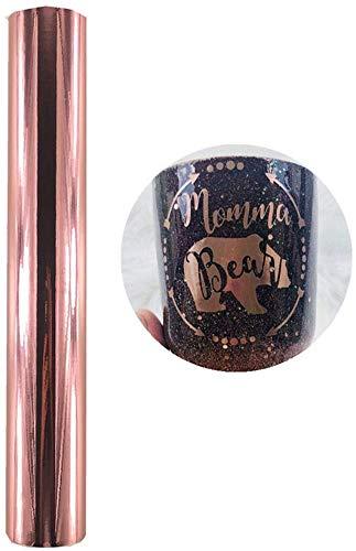Chrom-Vinylfolie, permanent, selbstklebend, glänzend, metallisch, für Silhouette-Trinkgläser, 30 x 152 cm, Rotgold / Gold / Silberfarben rose gold