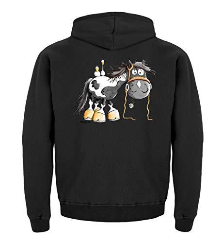 Happy Pinto Pferd Comic I Schecke Tinker I Modartis Pferde I Pony I Reiter Geschenk - Kinder Hoodie -5/6 (110/116)-Jet Black