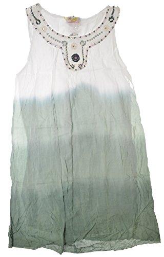 Salty Skin Tunika Kleid weiß-grün mit Perlen und Pailletten (L - 40)