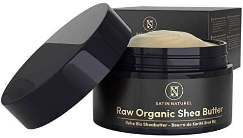 EINFÜHRUNGSPREIS BIO Sheabutter roh 200 ml – Natürliche Body Lotion für Trockene Haut – Shea Butter als Moisture & Tattoo Creme für Damen & Gesichtscreme - Satin Naturel Naturkosmetik ist Vegan