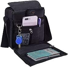 Mens Multifunction Canvas Crossbody Shoulder Bag Outdoor Travel Small Satchel Bag,Multi-pocket Purse Handbag Organizer Bag,Black