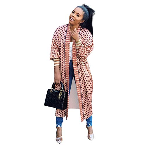 Urban Leisure Women Totem Print 3 4 Rib Sleeve Long Duster Cardigan Trench Coats (XL,Pink)