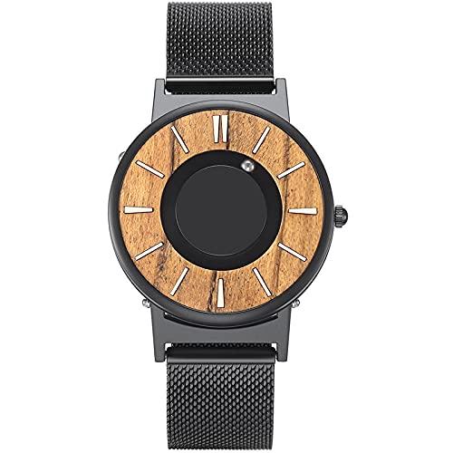 Reloj de Madera marrón paraHombre, Relojes de Cuarzo con imán magnético, Esfera de Madera para Hombre, Banda de Goma Negra, Relojes de Pulsera para Hombre 3