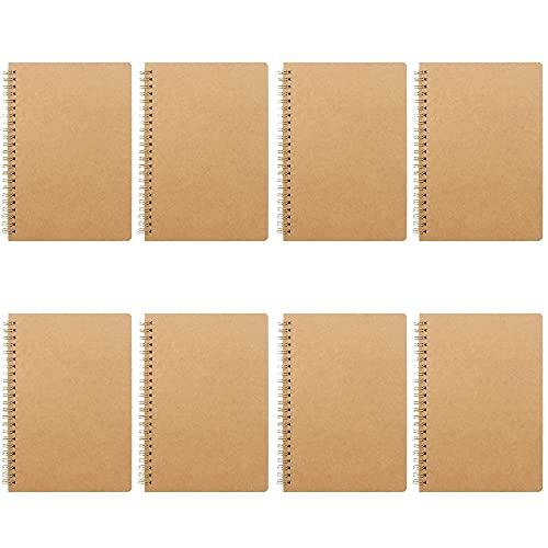 8 Piezas Bloc de Notas de Papel Rayado, Cuadernos Kraft, Libreta de Espiral, Bloc de Notas A5, 50 Hojas de Papel Rayado de 100 Páginas, Adecuado para Escribir en el Hogar y la Escuela