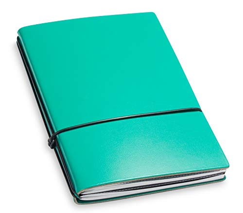A6, revolutionäres X17-Notizbuch/Personal Organizer! Recyceltes Leder, türkis/grün; Inhalt: 2 Notizhefte (blanko, kariert) + Doppeltasche, austauschbar=nachhaltig! 17 Jahre Garantie*